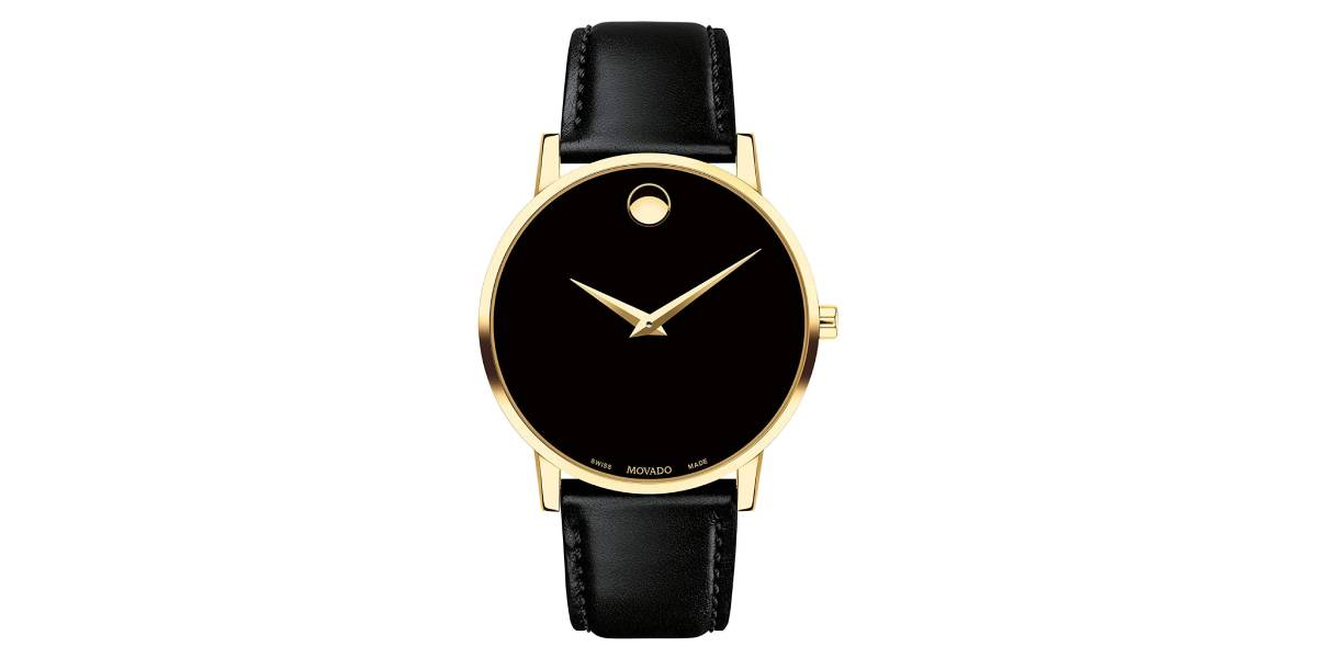 MOVADO Swiss Men's Gold Leather Watch